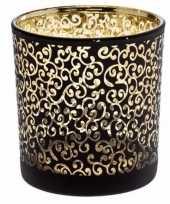 Theelichthouder prague zwart goud 8 cm van glas trend