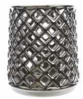 Theelichthouder zilver met uitsnede trend
