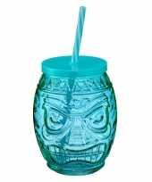 Tiki glazen drinkpotje drinkglas met deksel 550 ml blauw trend