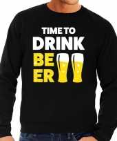 Time to drink beer tekst sweater zwart voor heren trend