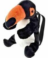 Toekan vogels speelgoed artikelen rugtas rugzak knuffelbeest zwart 32 cm trend