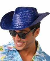 Toppers blauwe cowboy strohoed voor volwassenen trend