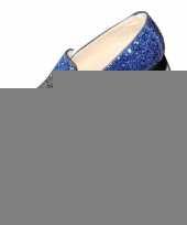 Toppers blauwe glitter pailletten disco instap schoenen voor heren trend