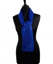 Toppers blauwe glitter pailletten disco sjaal trend
