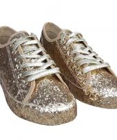 Toppers gouden glitter disco sneakers schoenen voor dames trend