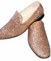 Toppers gouden glitter pailletten disco instap schoenen voor heren trend