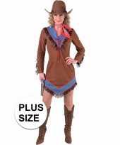 Toppers grote maten cowgirl jurkje bruin voor dames trend