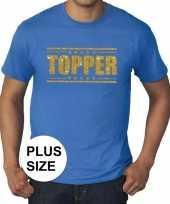 Toppers grote maten topper shirt blauw met gouden glitters heren trend