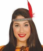 Toppers indianen verkleed hoofdband met rode veer voor volwassenen trend