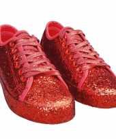 Toppers rode glitter disco sneakers schoenen voor dames trend