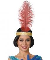Toppers rode pauwenveer charleston jaren 20 verkleed accessoire 40 cm trend