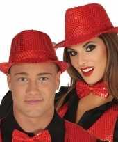 Toppers rode trilby verkleed hoed met pailletten voor volwassenen trend