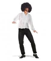 Toppers wit disco verkleed shirt met rouches trend