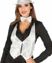 Toppers witte verkleed gilet met pailletten maat 38 40 voor dames trend