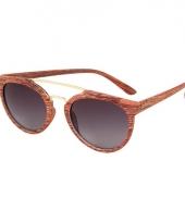 Trendy houten zonnebril met zwarte glazen trend 10069586
