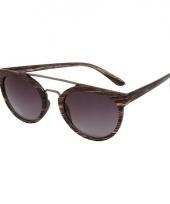 Trendy houten zonnebril met zwarte glazen trend