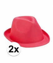 Trilby thema toppers hoedjes roze 2 stuks trend