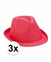 Trilby thema toppers hoedjes roze 3 stuks trend
