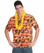 Tropisch overhemd rood met oranje trend