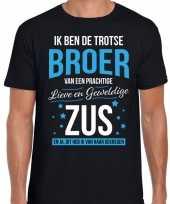 Trotse broer zus cadeau t-shirt zwart voor heren trend