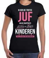 Trotse juf cadeau t-shirt zwart voor dames trend