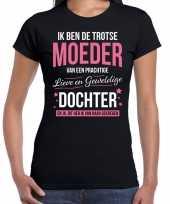 Trotse moeder dochter cadeau t-shirt zwart voor dames trend