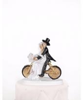 Trouwfiguurtje bruidspaar op een fiets 13 cm trend