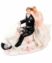 Trouwfiguurtje bruidspaar op motor b trend