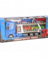Truck blauw 44 cm met vier speelvoertuigen trend
