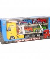 Truck geel 44 cm met vier speelvoertuigen trend
