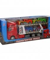 Truck rood 44 cm met vier speelvoertuigen trend