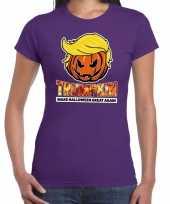 Trumpkin make halloween great again t-shirt paars voor dames trend