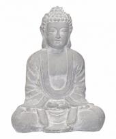 Tuin beeld boeddha blauw grijs 35 cm trend