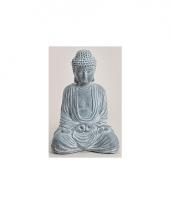 Tuin beeld boeddha blauw grijs 41 cm trend