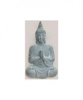 Tuin beeld boeddha blauw grijs 80 cm trend