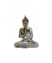 Tuin beeld boeddha brons zilver 21 cm trend