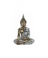 Tuin beeld boeddha brons zilver 33 cm trend