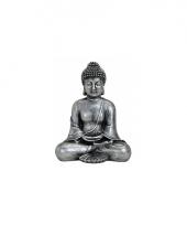 Tuin beeld boeddha zilver 24 cm trend