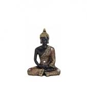 Tuin beeld boeddha zwart goud 11 cm trend 10079680