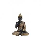 Tuin beeld boeddha zwart goud 11 cm trend