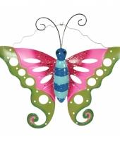 Tuin deco vlinder groen roze 41 cm trend