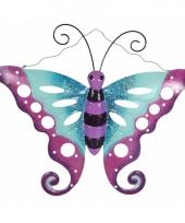 Tuin decoratie vlinder van metaal paars blauw 41 cm trend