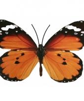 Tuin oranje vlinder van metaal 30 cm trend