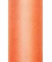 Tule stof oranje 15 cm breed trend