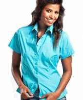 Turquoise damesblouse met korte mouwen trend