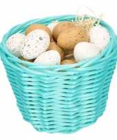 Turquoise easter basket with plastic quail eggs 14cm trend