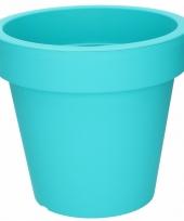 Turquoise sierpot 24 cm voor binnen of buiten trend