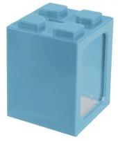 Turquoisee bouwsteentjes spaarpot 11 cm trend