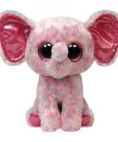 Ty beanie kado knuffel olifant roze 24 cm trend