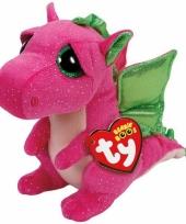 Ty beanie knuffel roze draak 15 cm trend
